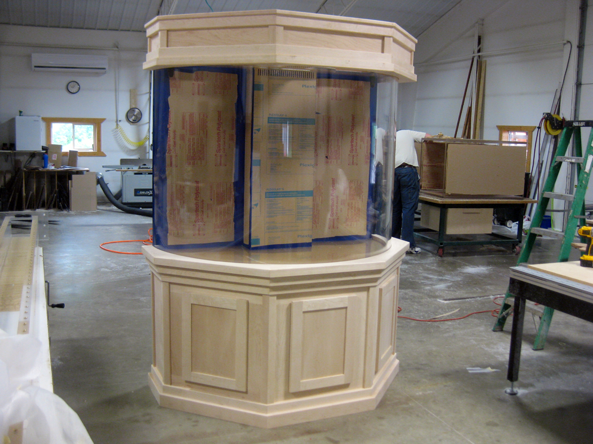 Flat Panel Maple Cabinetry For Curved Aquarium Unfinished