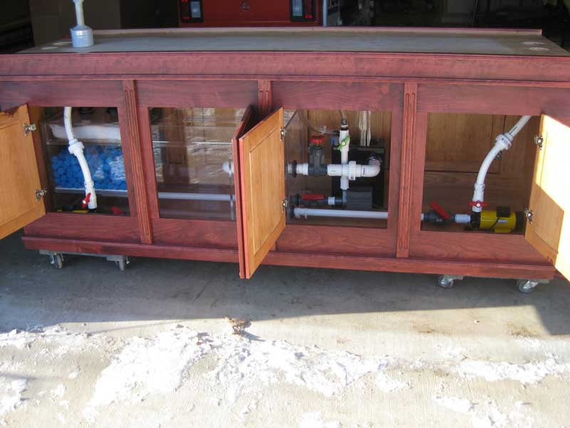 Filtration system in cabinet